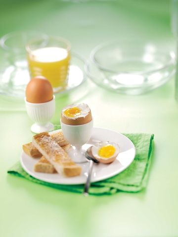 Boiled eggs and bread
