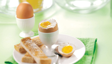 Boiled eggs in eggcups