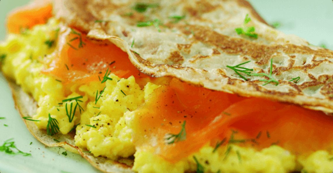 Smoked salmon and scrambled egg pancakes