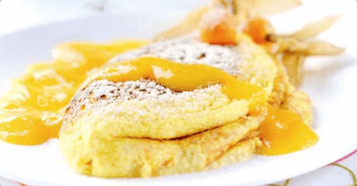 Mango & passion fruit soufflé omelette