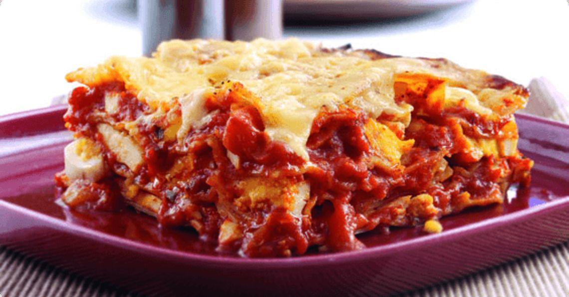 Egg and tomato lasagne
