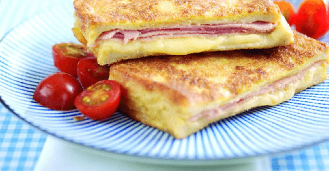 Cheese and ham eggy bread
