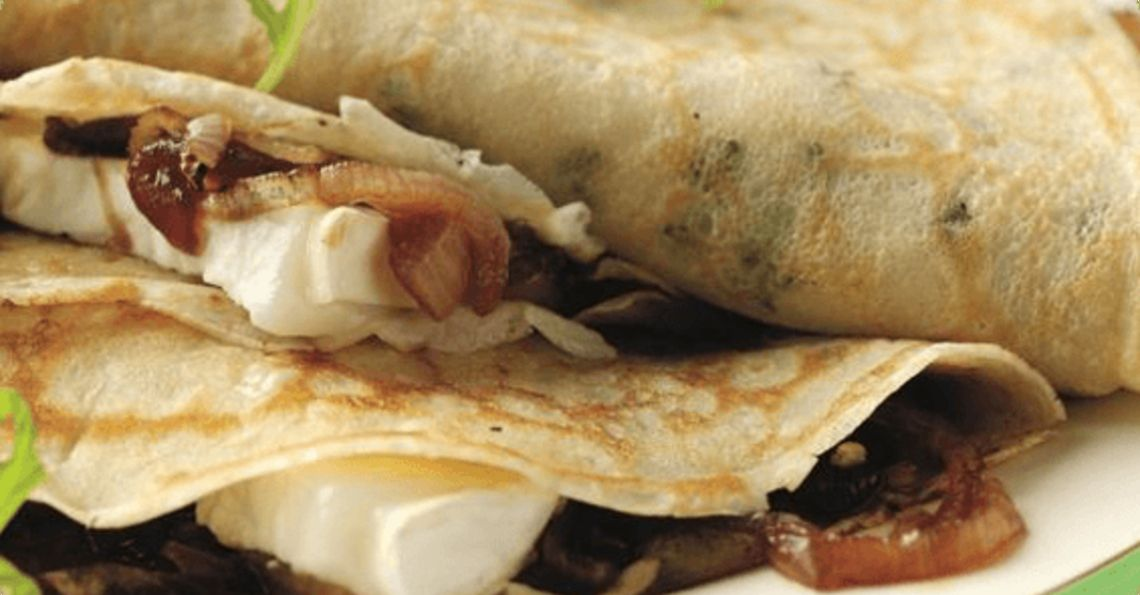 Thyme pancakes filled with caramelised onion chutney and goats cheese