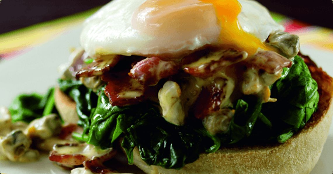 Poached Egg on Buttered Spinach Muffin