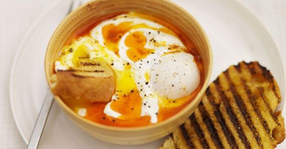 Turkish eggs with Turkish toast