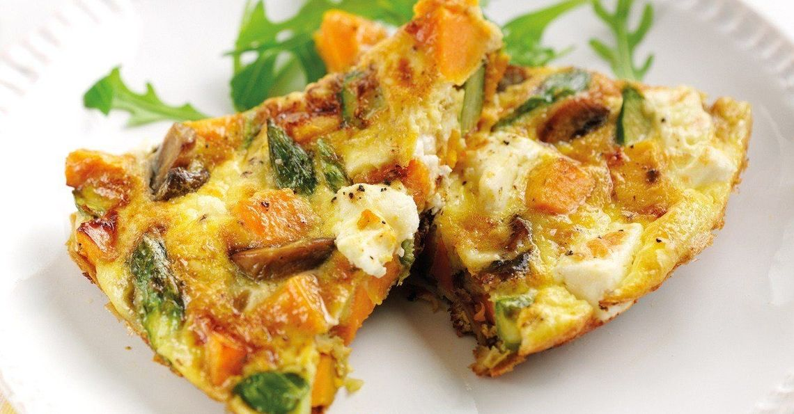 Asparagus & sweet potato frittata