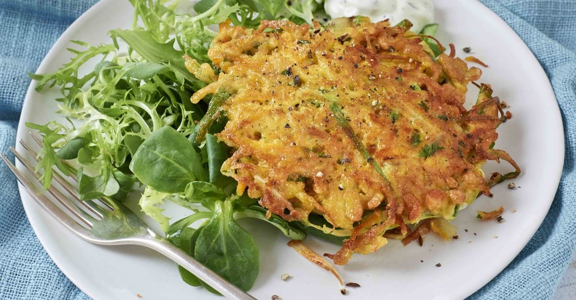 Carrot, potato, coriander and cumin fritters