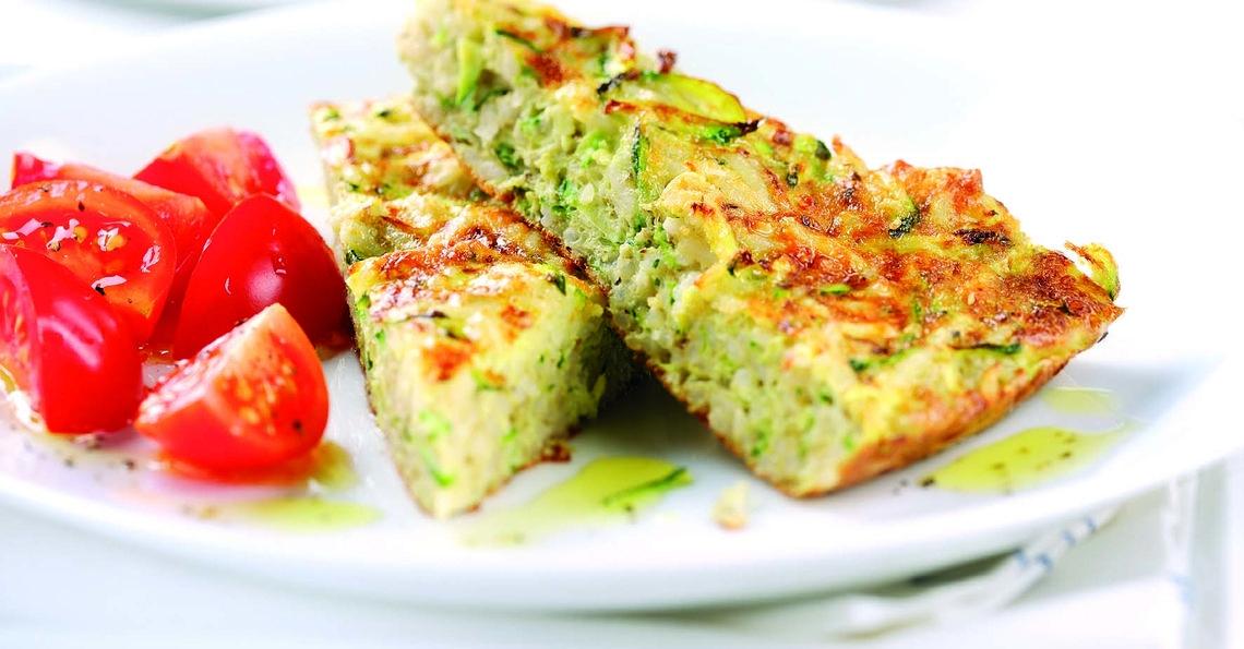 Courgette risotto omelette