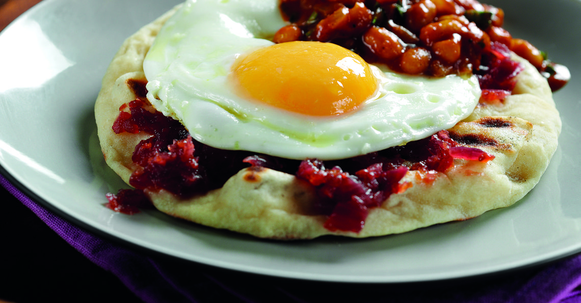 Fried egg naan with masala beans