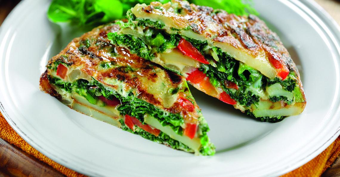 Potato, anchovy and kale tortilla