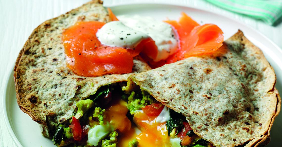 Avocado and egg quesadilla with salmon