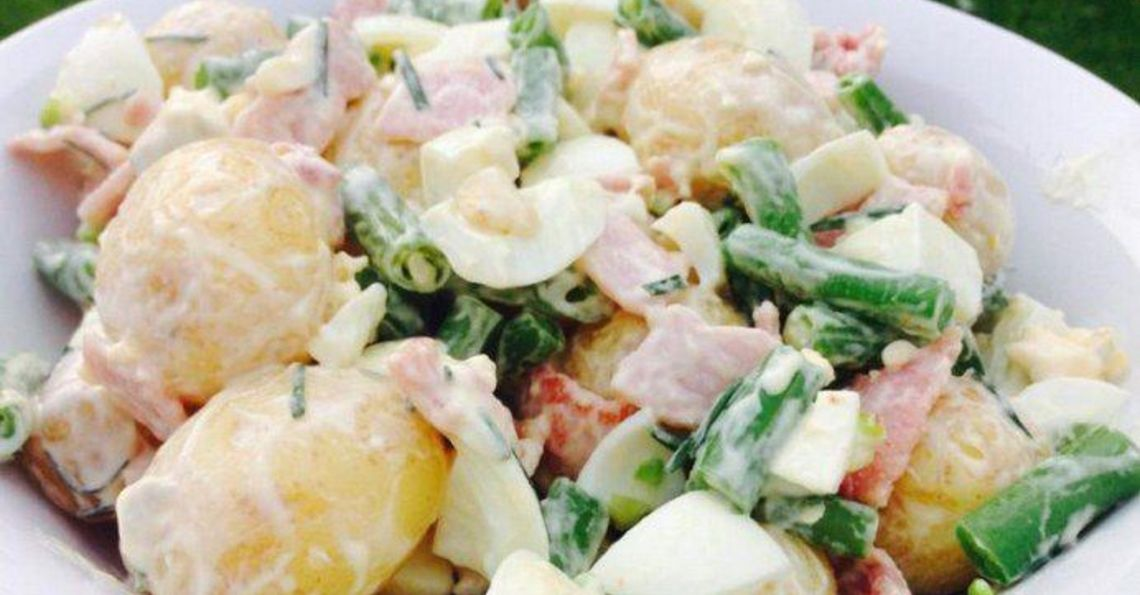 Rustic egg, bacon and potato salad