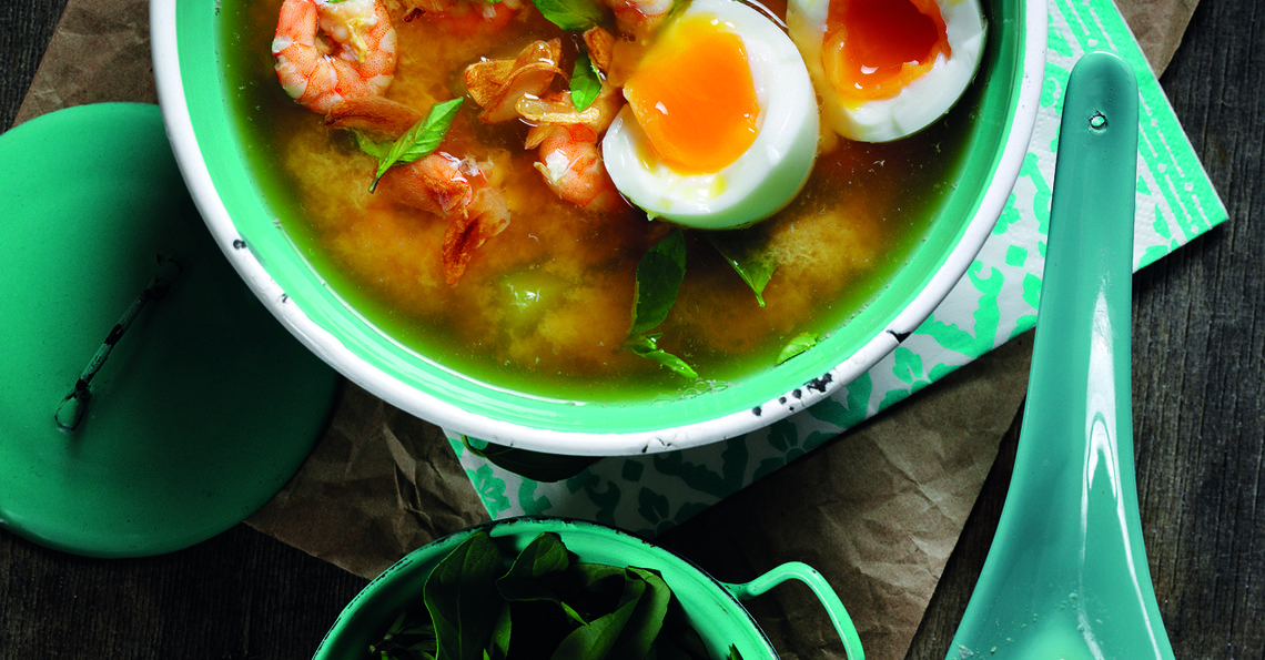 Egg, cucumber and shrimp soup