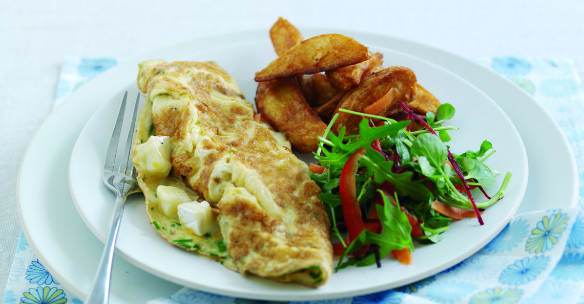 Brie and chive omelette