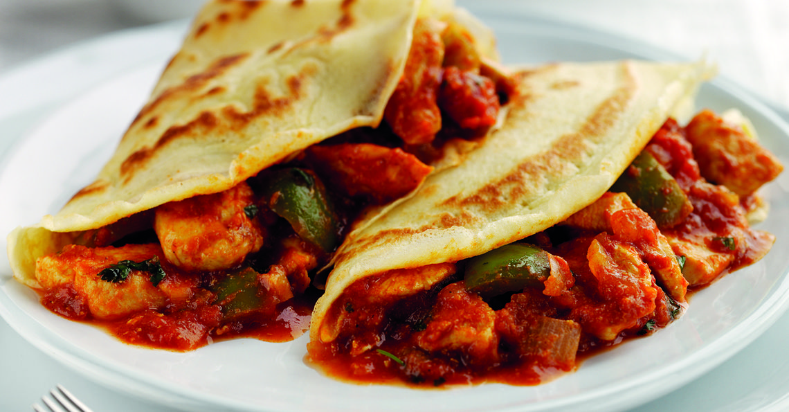 Chicken Balti pancakes