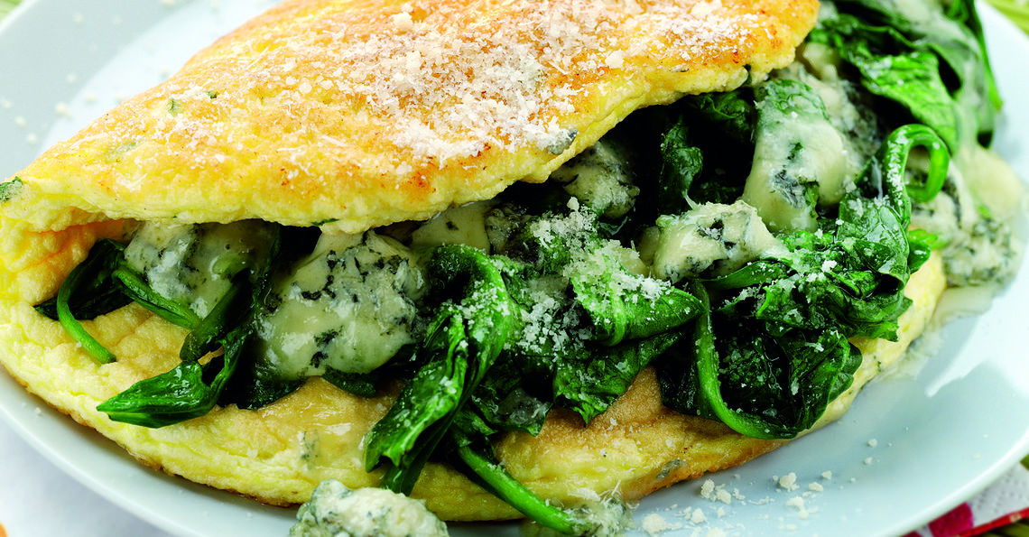 Three Cheese and Spinach Soufflé Omelette