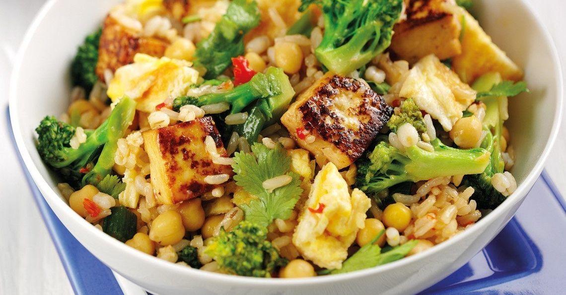 Three grain tofu & egg stir-fry