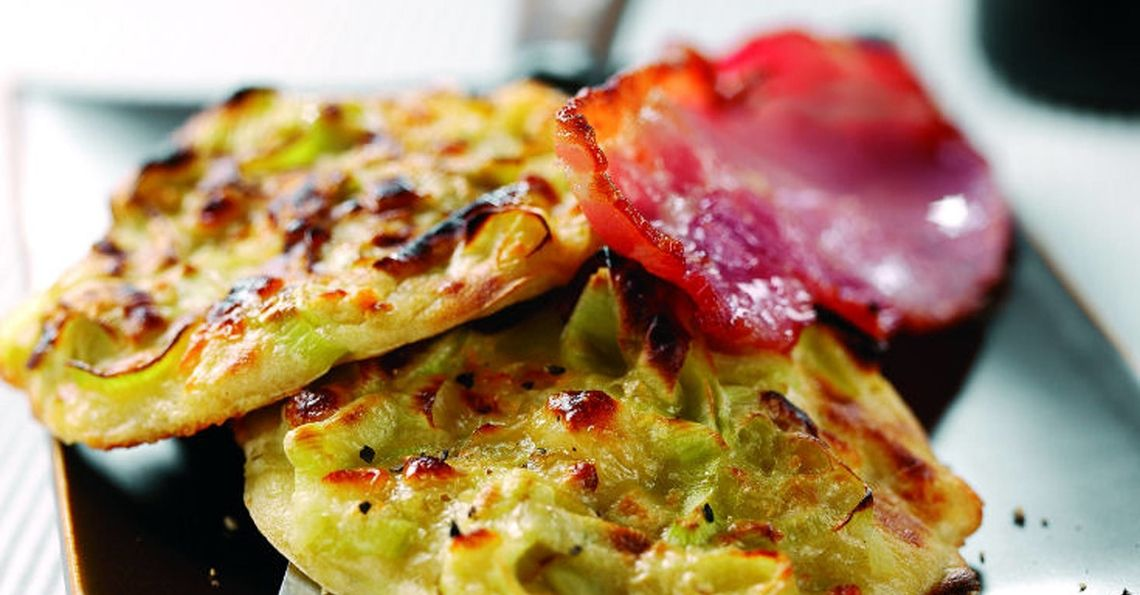 Caerphilly cheese and leek pancakes