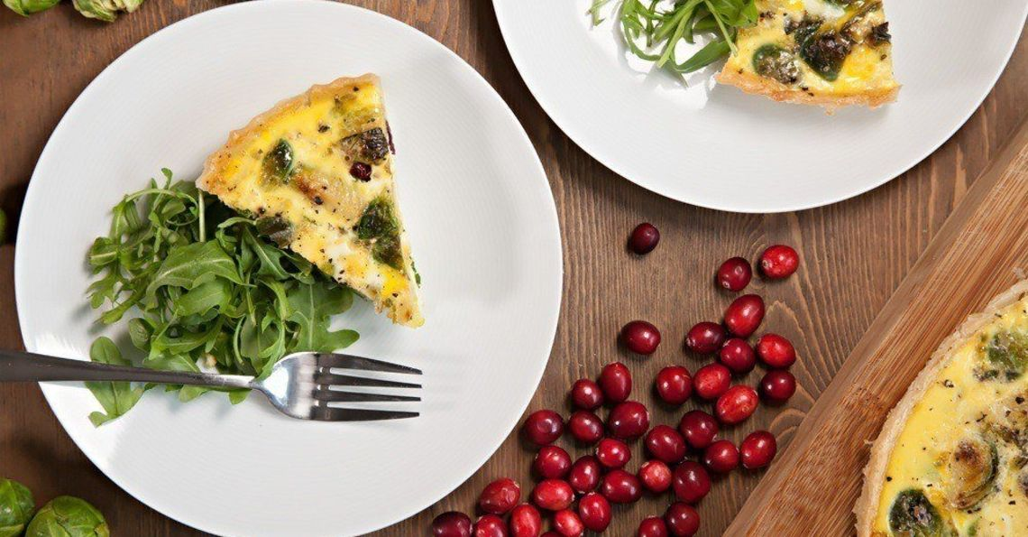 Sprout and cranberry quiche