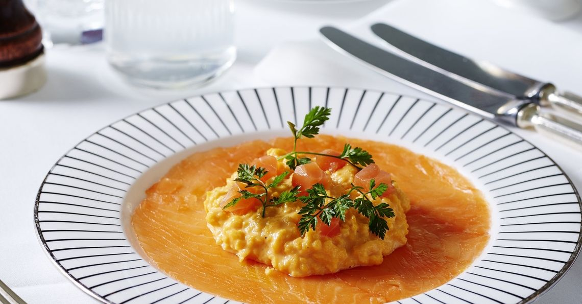 Smoked salmon and double cream scrambled eggs