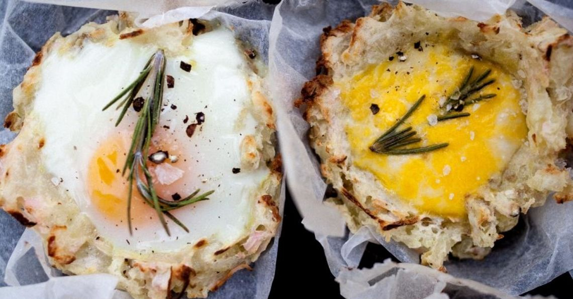 Rosti baked egg nests