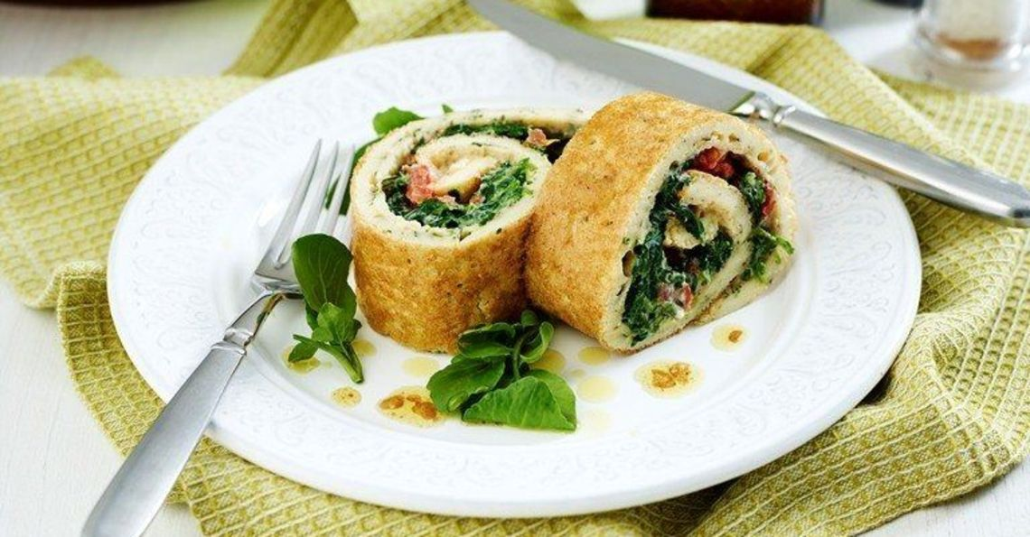 Spinach & egg roulade
