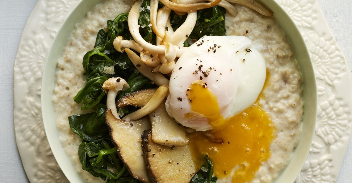 Savoury miso porridge with a poached egg and mushrooms