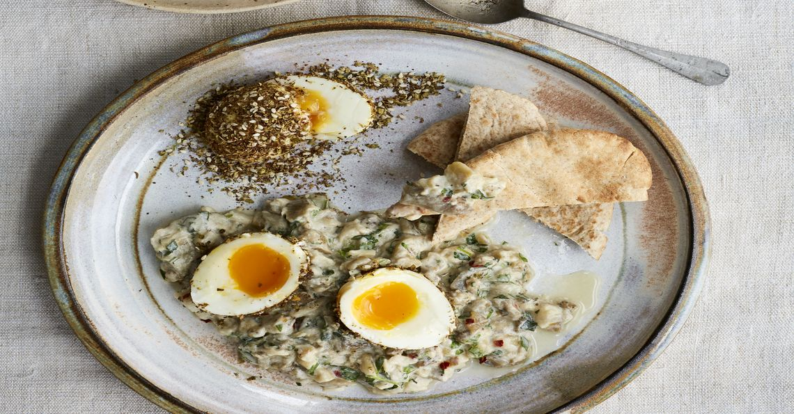 Aubergine yoghurt with spice-crusted eggs
