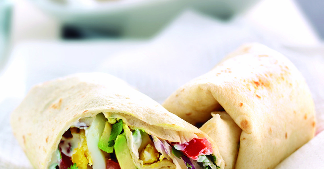 Egg and avocado tortilla wraps