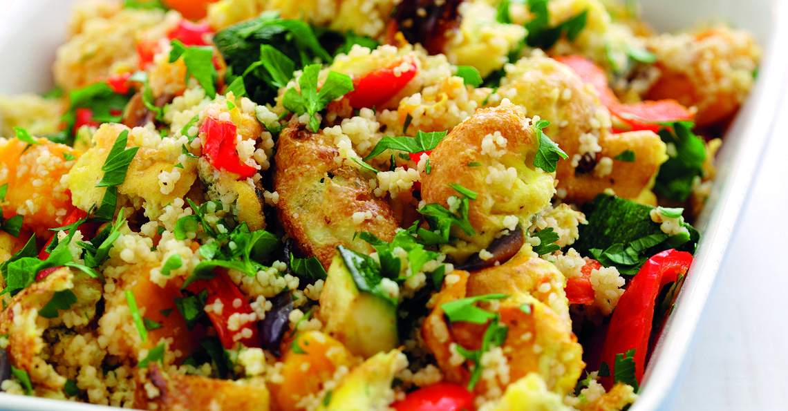 Low calorie herby couscous with roasted veg and egg