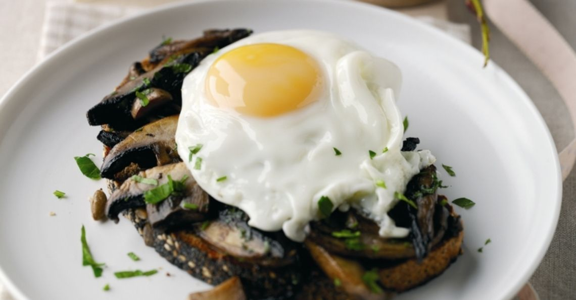 Mushrooms and eggs on toast