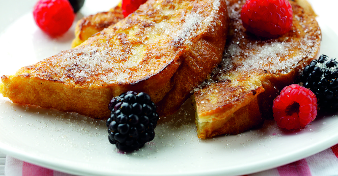 Warm eggy bread & berries