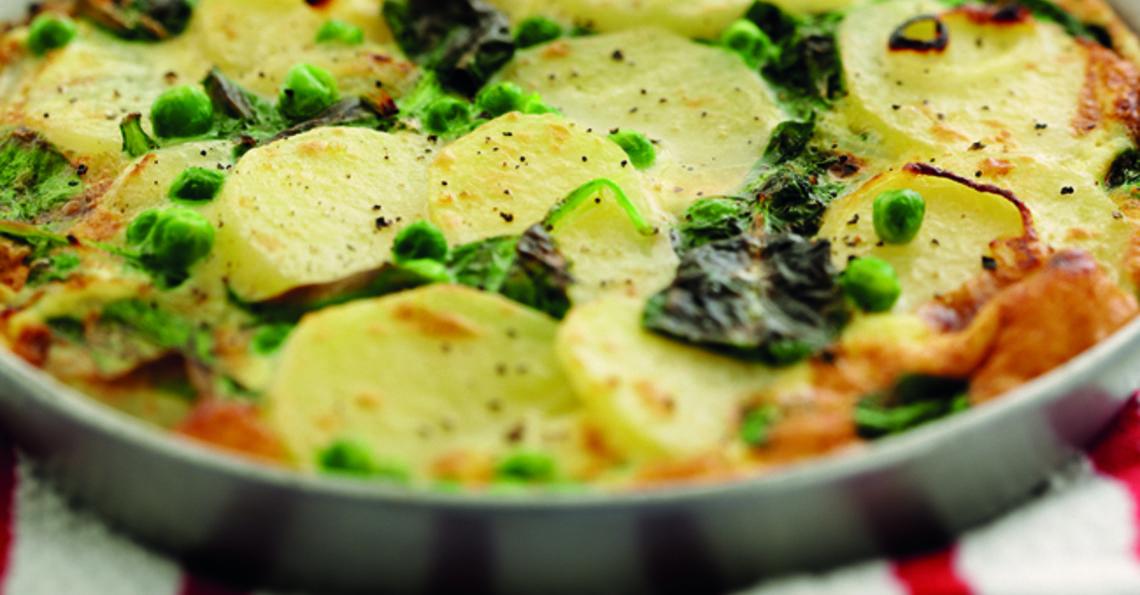 Potato, pea and spinach frittata
