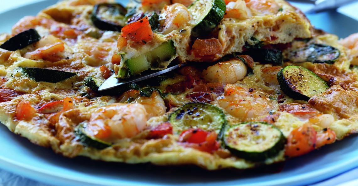 Prawn, courgette and tomato frittata