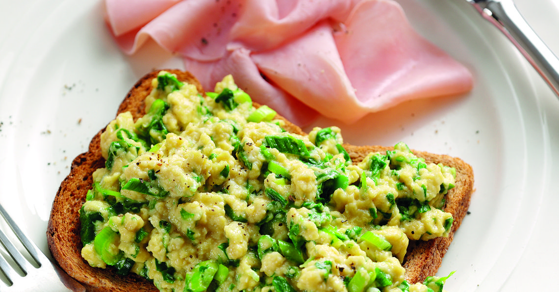 Green eggs and ham with spinach