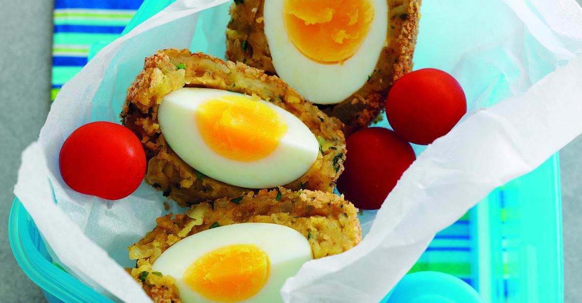 Spicy potato Scotch eggs