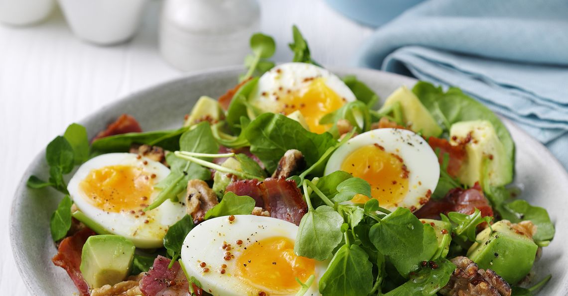 Steph Houghton's Soft Boiled Eggs with Spinach, Bacon and Walnut Salad