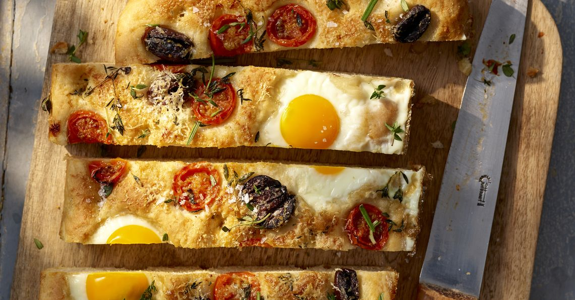 Breakfast focaccia baked with eggs