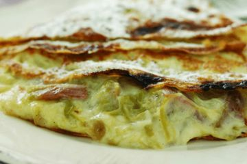 Gingered rhubarb and custard pancakes