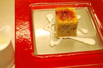 Fennel bread and butter pudding