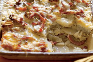 Layered potatoes with leeks and bacon