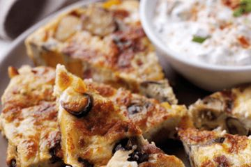 Spanish-style sweet potato, mushroom and feta tortilla