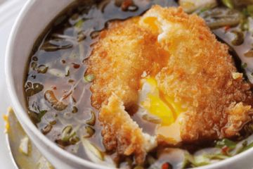 Crispy egg with a mushroom broth