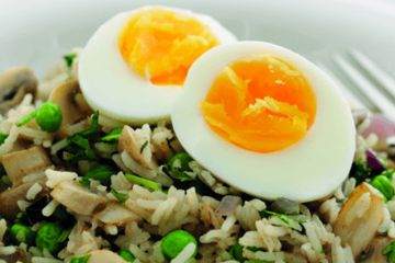 Low calorie spiced egg pilau