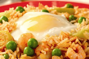 Spicy rice with prawns