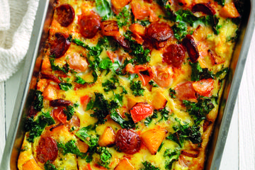 Squash, kale and chorizo tortilla