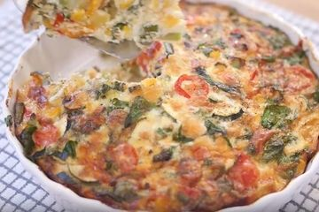 Vegetable frittata with mushrooms, spinach and avocado