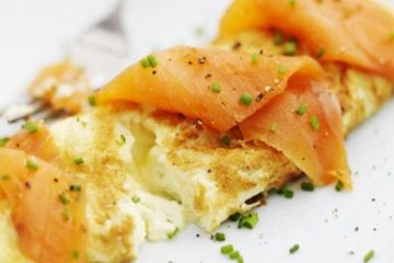 Salmon and boursin omelette