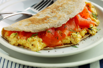 Oat pancakes with smoked salmon and eggs