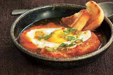 Fried egg soup with smoked paprika & ground chilli